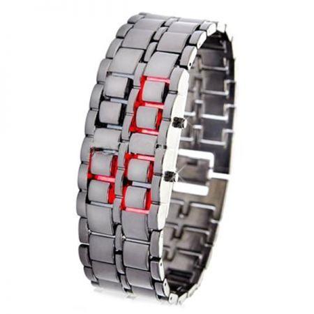 """Led Watch - часы наручные """"Самурай"""" серебристые с красными диодами"""