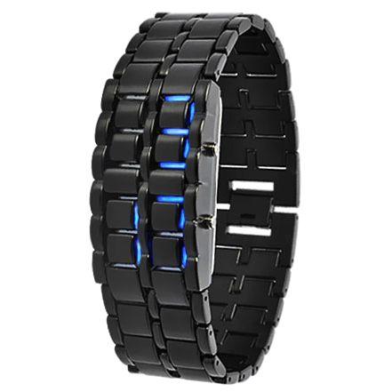 """Led Watch - часы наручные """"Самурай"""" черные с синими диодами"""