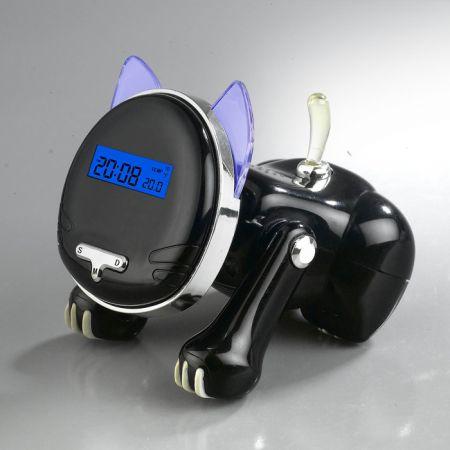 """Часы """"Кошка"""" с термометром черного цвета"""