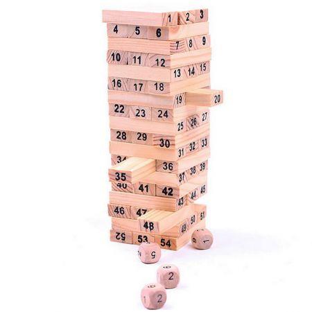 Настольная игра Башня - Jenga 54 блока с цифрами