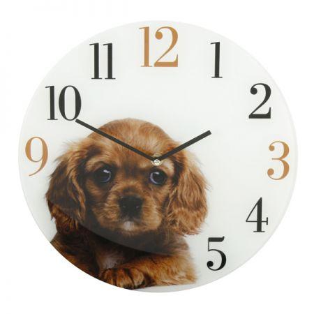 Настенные часы Кинг Чарльз стеклнные  30 см