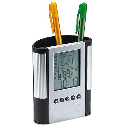 Подставка для ручек с термометром, будильником и часами