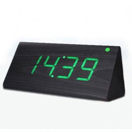 """Часы-будильник """"Пирамида"""" 21 см с термометром черное дерево зеленые цифры зв. активация"""