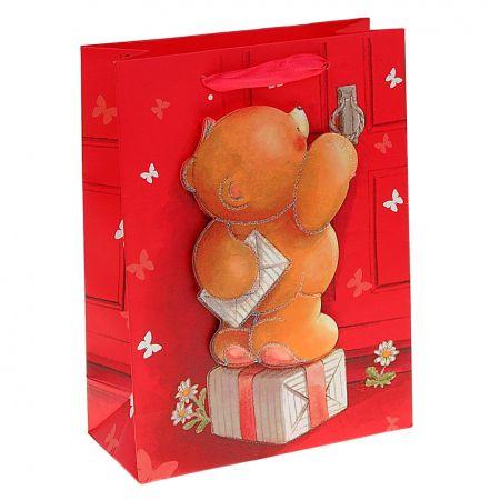Пакет  L Мишка с пожеланиями счастья