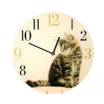 Настенные часы Серебристый котенок стеклянные  30 см