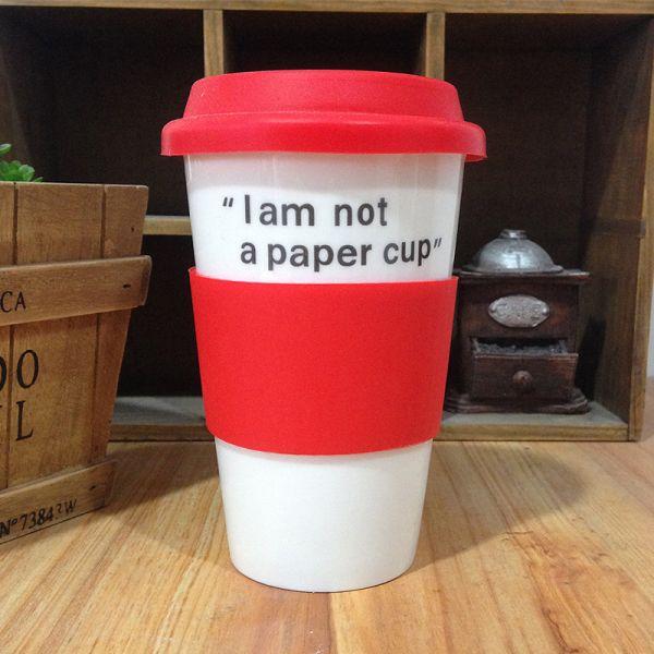 """Эко кружка """"Бумажный стаканчик"""" керамическая  красный Im not a paper cup"""