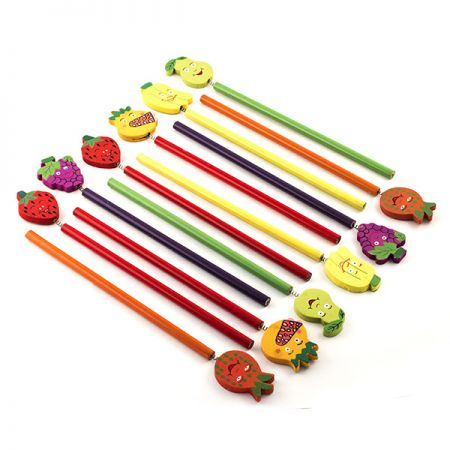 Набор карандашей на пружинке фрукты 12 шт в пакете