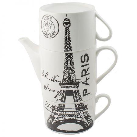 Чайник с двумя кружками Париж,фарфор